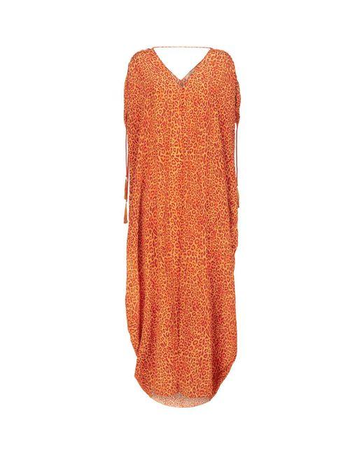 Lazul | Orange Silk V-neck Maxi Kaftan | Lyst