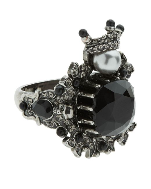 Alexander McQueen | Gray Embellished Gem Ring | Lyst