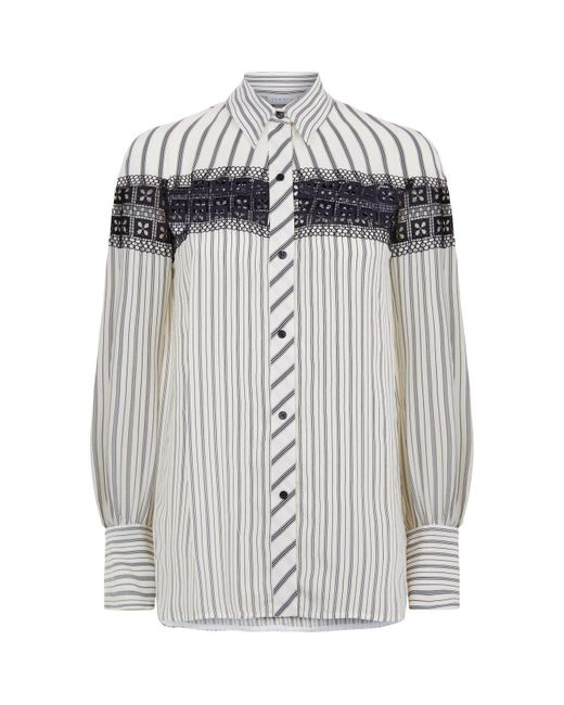 Sandro - Natural Striped Lace Shirt for Men - Lyst