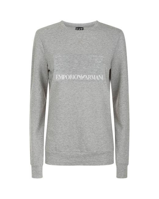 Armani - Gray Logo T-shirt - Lyst
