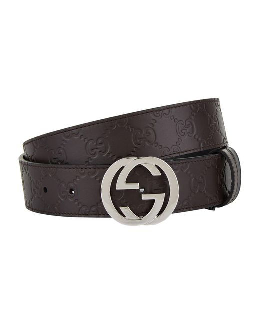 95dbd954b40 Lyst - Gucci GG Leather Belt in Brown for Men - Save 6%