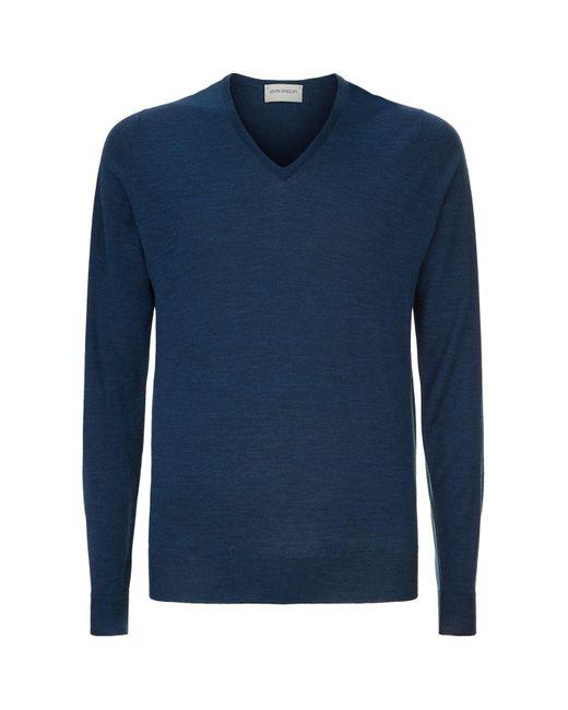 John Smedley - Blue Blenheim Merino Wool V-neck Jumper for Men - Lyst