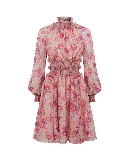 Giambattista Valli - Pink Floral Ruffled Dress - Lyst