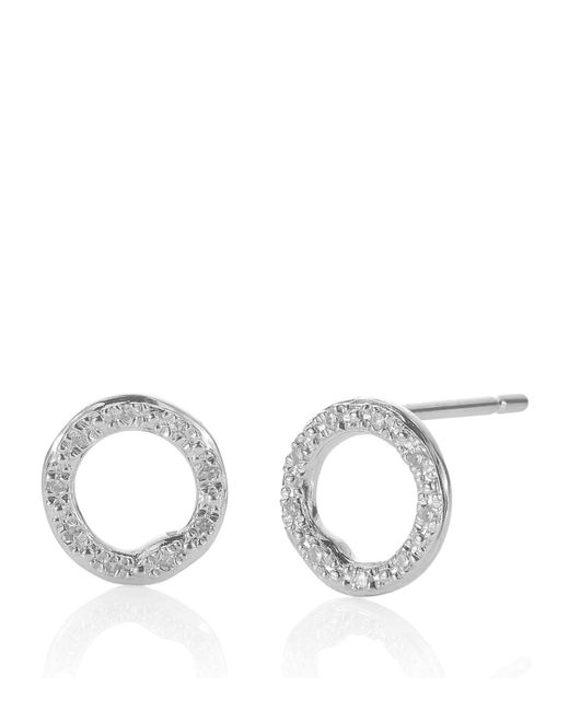 Monica Vinader - Metallic Riva Diamond Circle Stud Earrings - Lyst