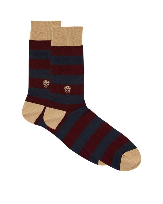 Alexander McQueen | Gray Stripe Skull Socks for Men | Lyst