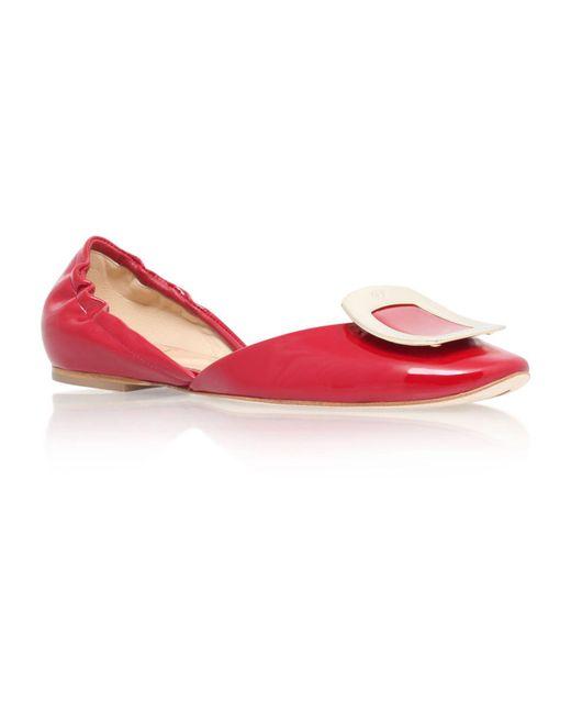 Roger Vivier   Red Patent Chips Ballerina Flats   Lyst