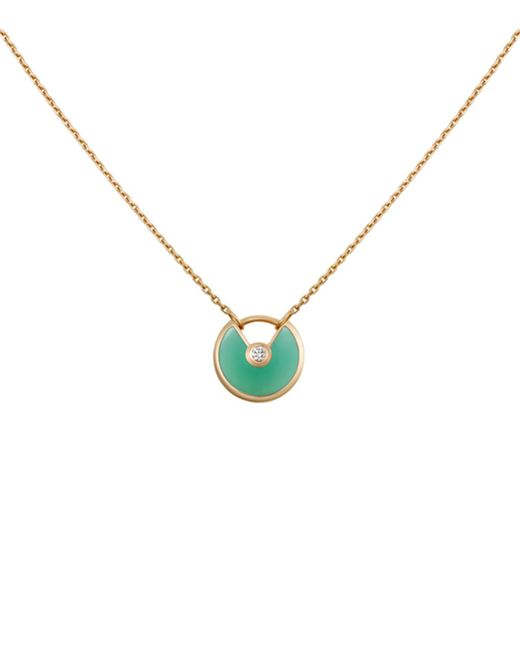 Cartier - Metallic Extra Small Yellow Gold And Chrysoprase Amulette De Necklace - Lyst