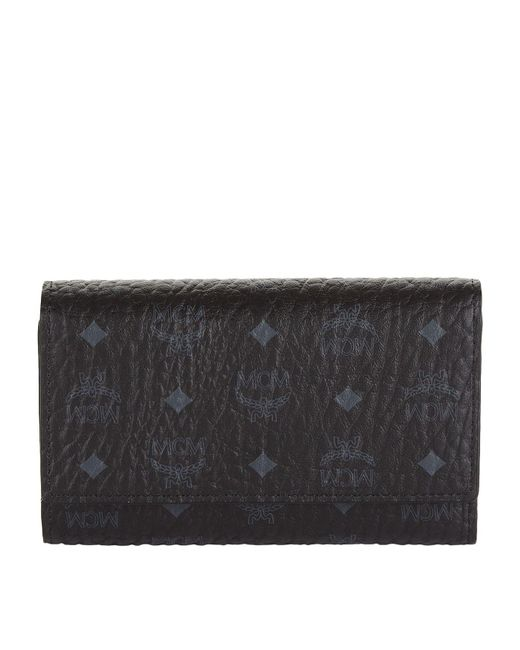 MCM - Black Medium Visetos Three Fold Wallet - Lyst