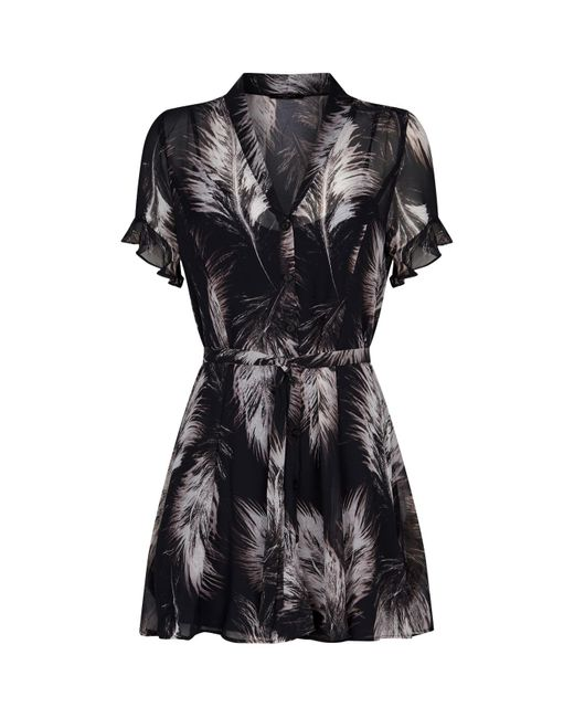 AllSaints Black Fay Feathers Mini Dress