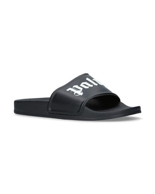Palm Angels - Black Logo-print Rubber Slides for Men - Lyst