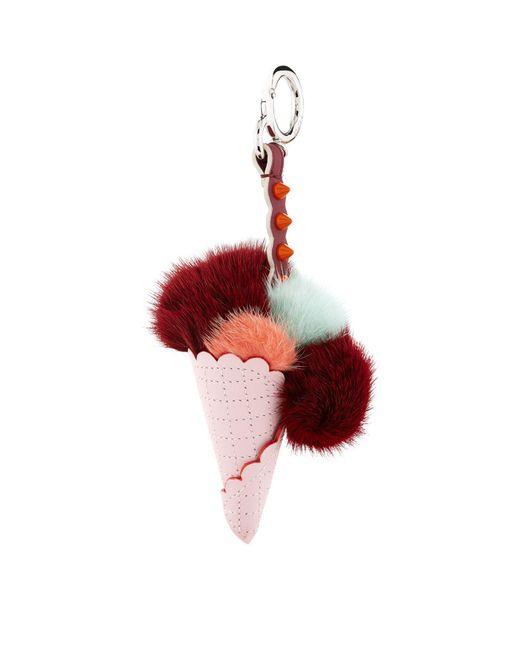 Fendi - Red Fox Fur Ice Cream Charm - Lyst
