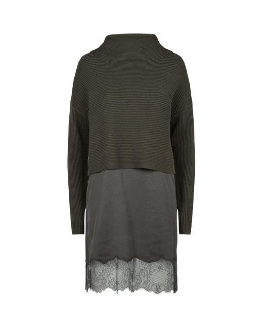 AllSaints Green 2-in-1 Eloise Slip-sweater Dress
