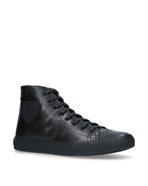 Saint Laurent - Black Leather Bedford High Top Sneakers for Men - Lyst