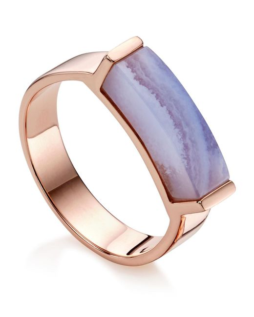 Monica Vinader | Metallic Linear Lace Agate Stone Ring | Lyst
