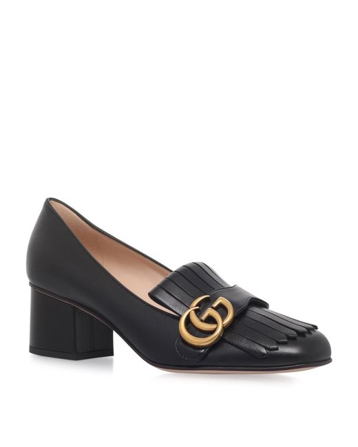 Gucci | Black Marmont Leather Pumps | Lyst