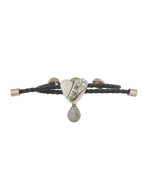 Alexander McQueen | Black Heart Motif Leather Friendship Bracelet | Lyst