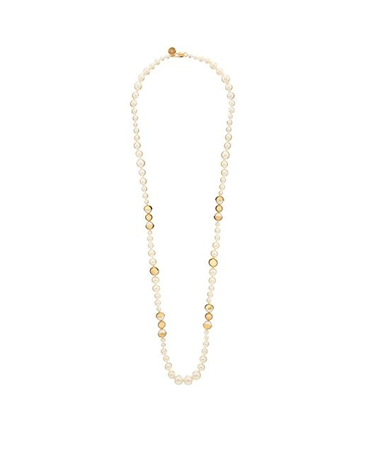 Tory Burch | Metallic Long Swarovski Pearl Necklace | Lyst