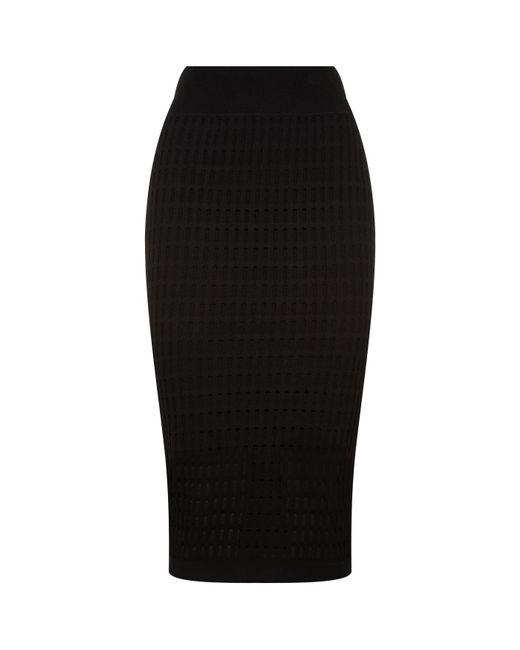 T By Alexander Wang | Black Lace Knit Pencil Skirt | Lyst