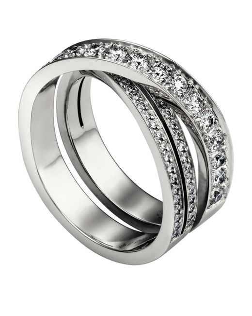 Cartier - Metallic White Gold And Diamond Tincelle De Tri-band Ring - Lyst