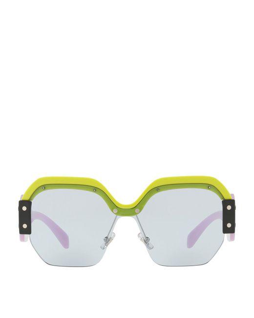 Miu Miu | Yellow Irregular Sunglasses | Lyst