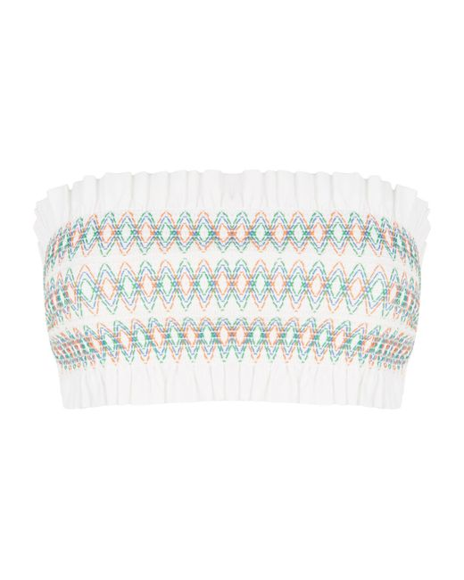 Tory Burch - White Costa Printed Bandeau Top - Lyst