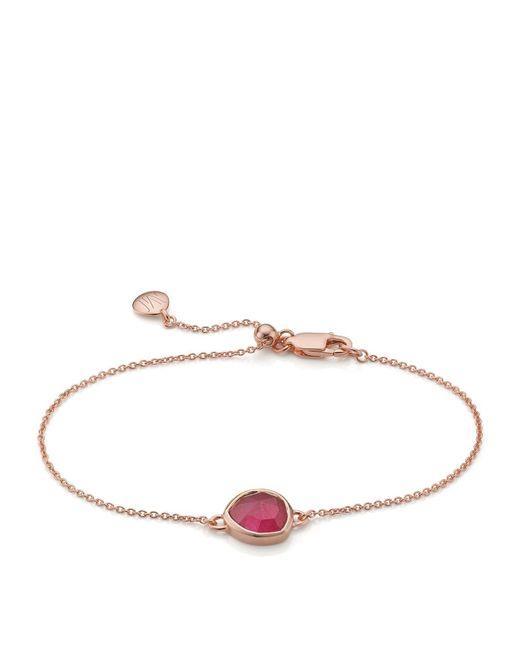 Monica Vinader - Metallic Siren Pink Quartz Fine Chain Bracelet - Lyst