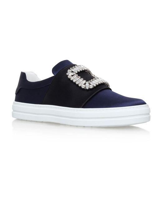 Roger Vivier - Blue Sneaky Viv Embellished Satin Sneakers - Lyst