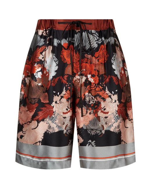 Meng - Black Silk Floral Print Lounge Shorts for Men - Lyst