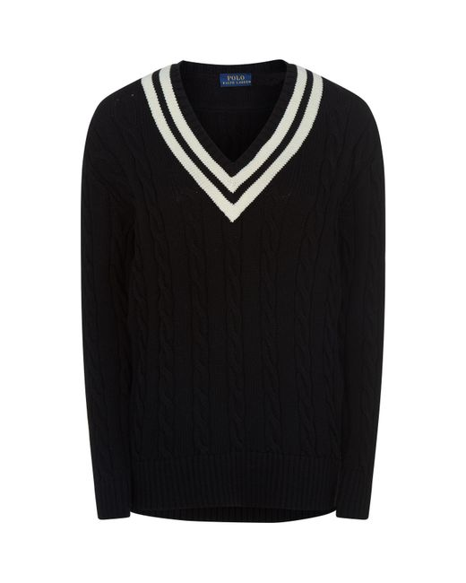 Polo Ralph Lauren - Black Cable Knit Cricket Sweater for Men - Lyst