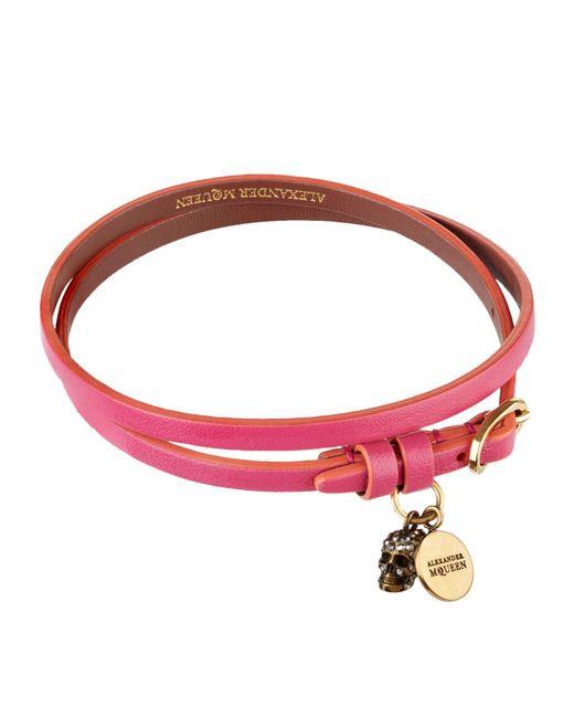 Alexander McQueen - Pink Leather Wrap Bracelet - Lyst