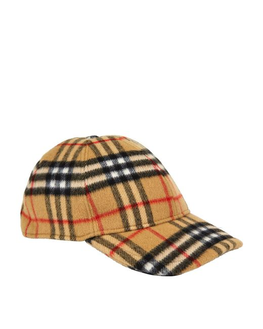 lace up in b3a0c d1062 Burberry - Yellow Vintage Check Wool Baseball Cap  for Men ... 4834e86e1cf6