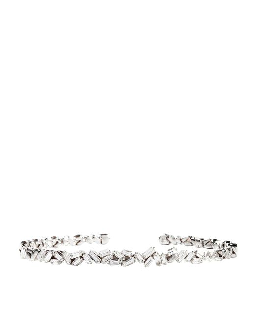 Suzanne Kalan - White Gold Diamond Bangle - Lyst
