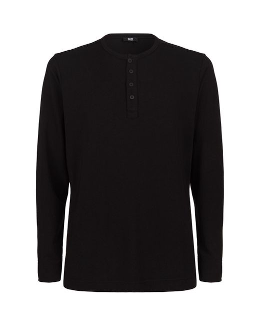 PAIGE - Black Long Sleeve Henley Top for Men - Lyst