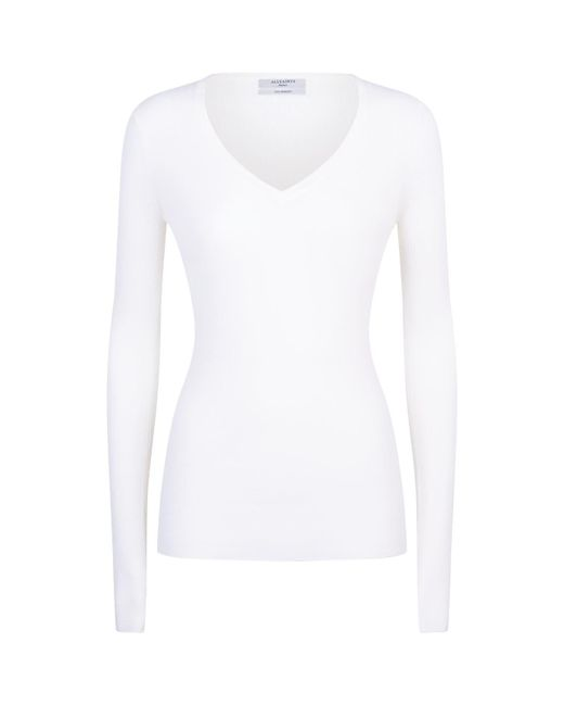 AllSaints | White Vana V-neck Sweater | Lyst
