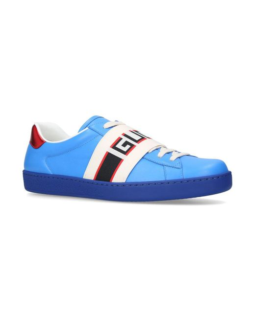 564627b14 Gucci New Ace Stripe Leather Trainers in Blue for Men - Save 24% - Lyst