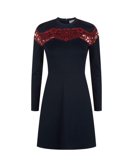 Sandro | Blue Lace Insert Skater Dress | Lyst