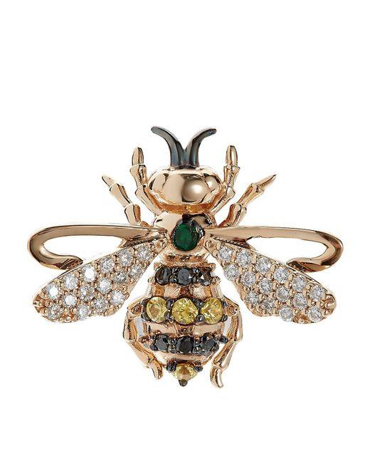 Bee Goddess - Green Emerald Queen Bee Stud Earring - Lyst