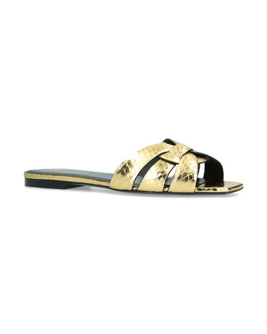 Saint Laurent - Metallic Leather Nu Pieds Slides - Lyst