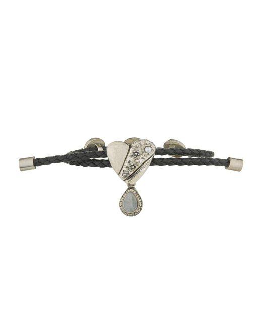 Alexander McQueen   Black Heart Motif Leather Friendship Bracelet   Lyst