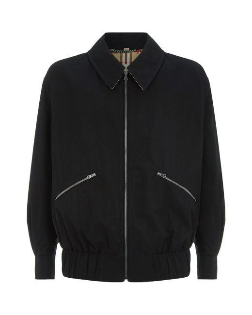 Burberry - Black Collared Bomber Jacket for Men - Lyst
