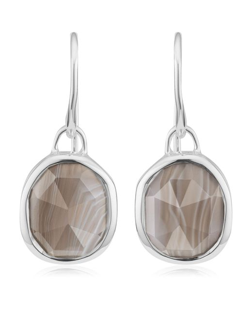 Monica Vinader - Metallic Siren Grey Agate Wire Earrings - Lyst