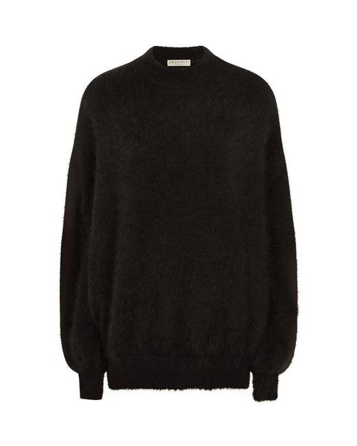 Emilio Pucci | Black Angora Balloon Sleeve Sweater | Lyst