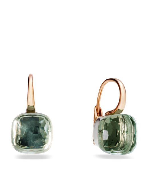 Pomellato - Pink Large Nudo Prasiolite Rose Gold Earrings - Lyst