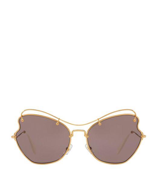 Miu Miu | Metallic Metal Irregular Sunglasses | Lyst