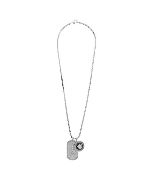 Versace | Metallic Medusa Necklace And Tag | Lyst