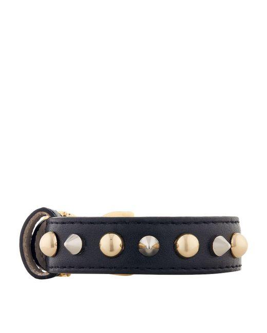 Dolce & Gabbana - Blue Studded Leather Logo Bracelet - Lyst