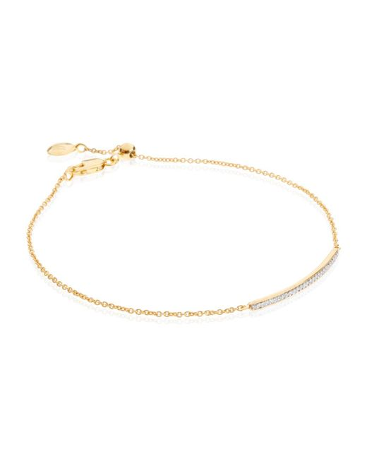 Monica Vinader - Metallic Skinny Short Bar Bracelet Diamond - Lyst