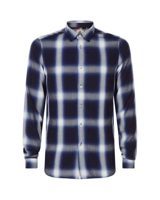 Paul Smith | Blue Faded Check Shirt for Men | Lyst