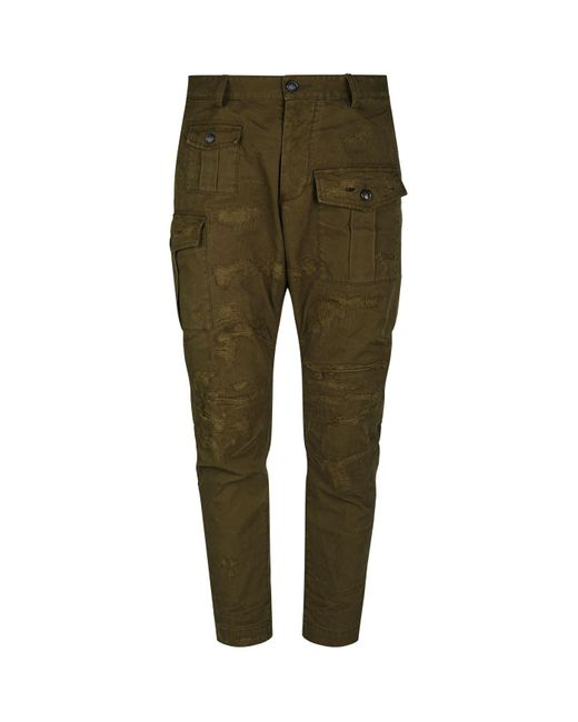 DSquared² Green Distressed Cargo Trousers for men