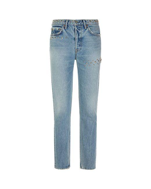 GRLFRND   Blue Studded Karolina Jeans   Lyst